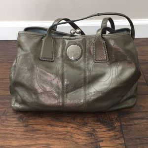Coach purse, olive green exterior, blue lining